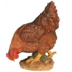 Poule picorant pm marron 26 cm en résine