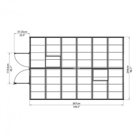 Plan vue d'en haut Serre Octave polycarbonate 8,8 m²