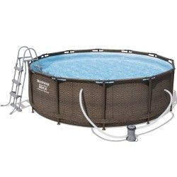 Kit piscine ronde Steel PRO Frame couleur rotin