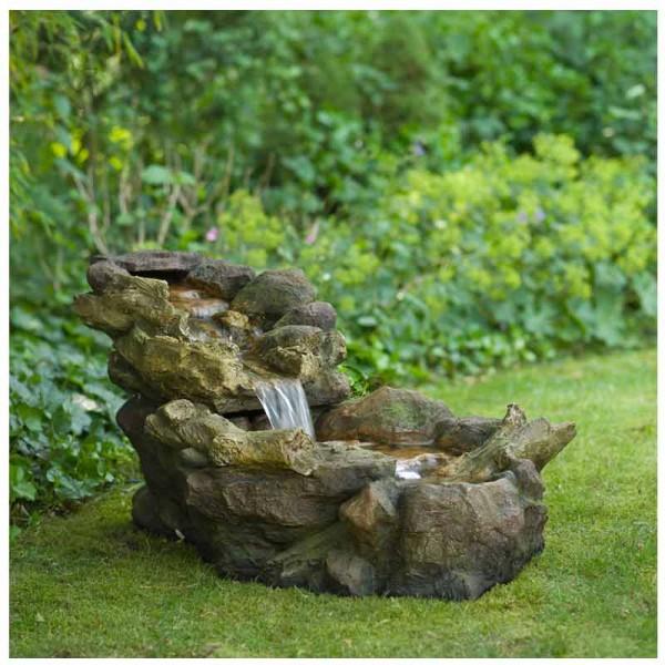 Fontaine de jardin chute d\'eau Aspen à éclairage LED avec pompe