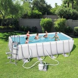 Kit Piscine Rectangulaire Power Steel Frame Pools L 488 x l 244 x H 122cm - filtre à sable