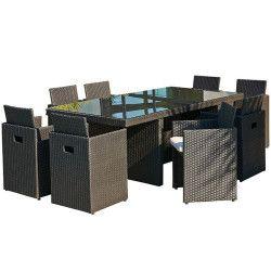 Encastrable 8P en résine tressée -1 table avec plateau en verre + 8 fauteuils 8 Places en résine tressé