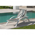 Chaise longue Barcelona taupe et blanche