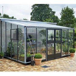 Serre adossée Véranda en verre trempé 12.9 m²