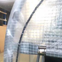 Bâche de serre 220 microns armée transparente sur mesure avec ourlets